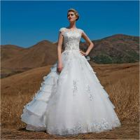 Wholesale OEM Graceful Short Sleeve illusion neckline puffy Wedding Dresses Beaded from china suppliers