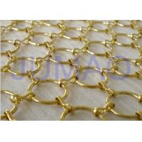 Wholesale Gold Galvanized Metal Ring Curtain , 22 Mm Holes Flexible Chainmail Mesh Fabric from china suppliers