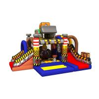 China Construction Builder Combo Jumping House / Double Slides Inflatable Bouncy House on sale