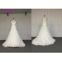 Wholesale White Elegant Ladies Off Shoulder V Neck Wedding Dress Fully Lined L Size  Length Train Color from china suppliers