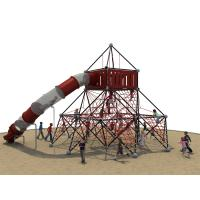 Galvanized Pipe Kids Climbing Nets With LLDPE Plastic Tube Slide