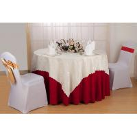 Wholesale Red / White / Yellow Hotel Polyester Damask Tablecloth For Party Wrinkle Resisitance from china suppliers