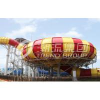 China Commercial Fiberglass Cloth Outdoor Water Slides Plastic Slide 20*17m Floor Space on sale