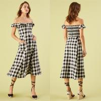 Wholesale Black and white checked off shoulder dress from china suppliers