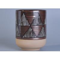 Wholesale Luxury Ceramic Candle Holder Geometric Figure Hand Painted Triangles Black Lines from china suppliers
