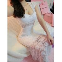 Wholesale Girls Thin Diamond Lace Ball Gown Wedding dress with one shoulder for fall from china suppliers