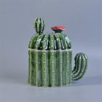 Wholesale Professional Popular Cactus Shaped Ceramic Candle Holder With Lids For Home Decor from china suppliers