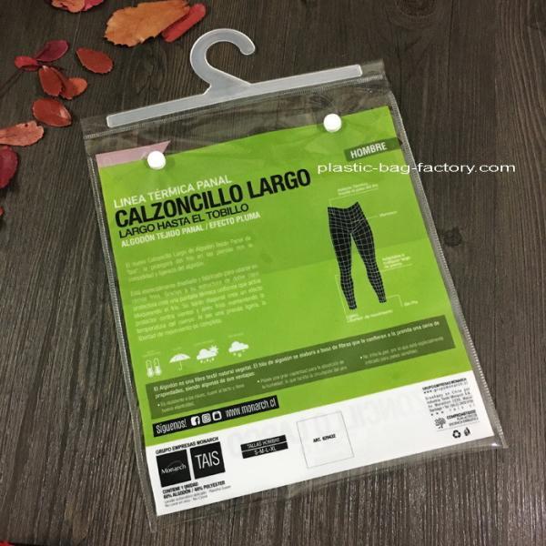 Quality Transparent Plastic Garment Hook Bags Clear PVC Hook bag with PP Hanger for sale