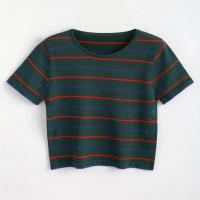 Wholesale Custom Logo Stripe Cotton T Shirt Printing for Women from china suppliers