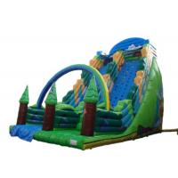 Quality Green Forest Theme Blow Up Slide , Giant Inflatable Slide With Climbing Wall for sale