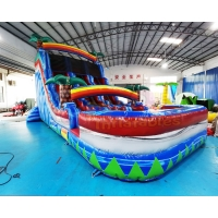 Wholesale Double Side Rainbow Bouncer Inflatable Water Slide With Pool from china suppliers