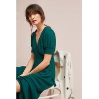 Quality WESTERN WOMEN ELEGANT SHORT SLEEVE LONG GREEN WRAP DRESS MIDI DRESSES WRAP for sale