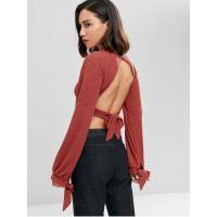 Quality Open Back Knotted Cut Out Long Sleeve Knit Top Women for sale