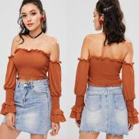Wholesale Off The Shoulder Ladies Ruffle Long Sleeve louses Shoulder Off Smocked Crop top for Women from china suppliers