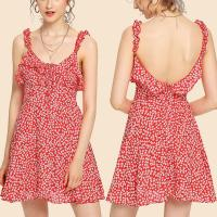 Wholesale 2018 fashion summer ruffle floral red mini backless dress for women from china suppliers