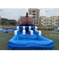0.55mm PVC Kids Inflatable Pirate Boat Bouncer Water Slide For Party