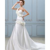 Quality Fashion Long Heart Neckline Satin Wedding Dresses with Handmade Flowers for sale