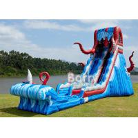 Wholesale 0.55mm PVC Tarpaulin 25 FT Ocean Battle Slide , Inflatable Adults Water Slide For Backyard from china suppliers