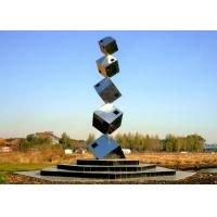 Wholesale Polished Large Garden Sculptures Metal , Cube Tower Stainless Steel Art Sculptures from china suppliers