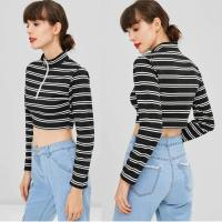 Wholesale Trendy Women Clothing Stripe Long Sleeve O Ring Zip Crop Tee Top from china suppliers