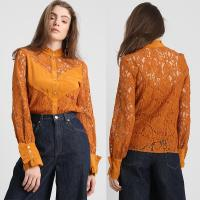 Wholesale 2019 Fall Apparel for Women New Arrival Lace Brown Long Sleeve Blouse Tops from china suppliers