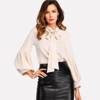 Wholesale Tie Neck Balloon Sleeve Elegant Ladies Blouse from china suppliers