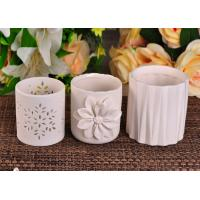 Embossed Vertical Stripes Round Shape White Ceramic Candle Holder