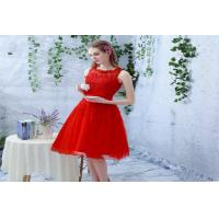 Wholesale Red Lace Sleeveless Evening Party Dresses Halter neck flower in Custom Fit from china suppliers