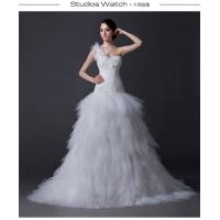 Quality Classic One Shoulder layered Wedding Dresses , Korean Strapless Wedding Gowns for sale