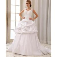Wholesale White Party Wedding Dresses lace neck flounced silk underdress from china suppliers