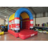 Small Size Firefighting Car Kids Inflatable Bounce House With Arc Roof 3x4m