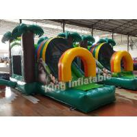 Green Printed PVC Small Inflatable Bouncer Castle Kids Playground Flame