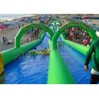 China Double Lane Inflatable Slip N Slide 100m Long For Kids N Adults on sale