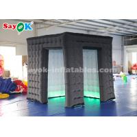 Buy cheap 2 Doors Black Cube Inflatable Photo Booth with LED Light for Advertising from wholesalers