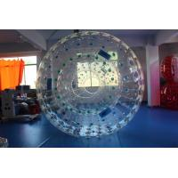 Wholesale Transparent Blue Handle PVC Inflatable Zorb Ball , 3m x 2m Dia Giant Hamster Ball from china suppliers