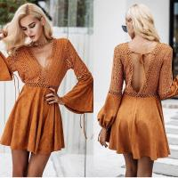 Wholesale New Design Women Long Sleeve Hollow Out Dress in Causal Dresses Mini Sexi from china suppliers