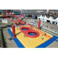 China outdoor inflatable sports games inflatable volleyball court with_trampoline on sale