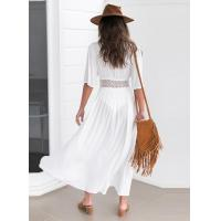 Quality Wholesale Solid Color White Deep V Neck Half Sleeve Beach Cover Up Sexy Maxi for sale