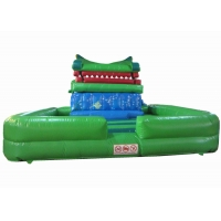 Quality Crocodile cartoon themed inflatable water slide with big water pool big inflatable crocodile water pool slide for sale