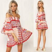 Wholesale Summer Dresses Women Boho Printed Off Shoulder Mini Dress from china suppliers