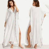Wholesale Bohemian White Lace-up Long Summer Beach Cover Up Dress with Split from china suppliers