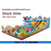 amusement park integrated giant combo bouncer inflatable shark slide