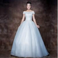 Wholesale Elegant 3D Slim Appliques Sweetheart Lace Wedding Dress with Sweep train , white from china suppliers