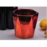 Wholesale Rose Gold coloured Hexagon Ceramic Candle Jar With Electroplating Finish from china suppliers