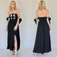 Wholesale New Boho Off Shoulder Summer Backless Maxi Dresses With Tie Up Sleeves from china suppliers