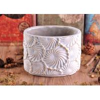 Hand made engraving flower round cement candle holder wholesaler