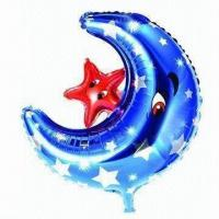 Wholesale Foil Inflatable Toys, Made of PA, PE and AL, Moon with Star Shaped, Three Colors for Choice from china suppliers