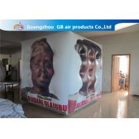Fireproof White Cube Inflatable Helium Balloons PVC Material Full Digital Printing