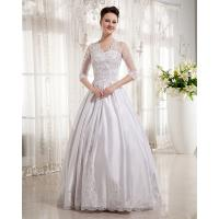 Women Queen Anne Neckline Wedding Dresses Beaded / A line Wedding Gowns with long trains