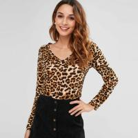 Wholesale Autumn Long Sleeve And V Neck Leopard Tee Tight T-shirt Women from china suppliers